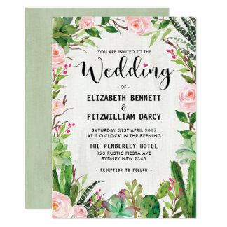 Watercolor Succulent Cactus Wedding Invitation