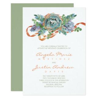 Watercolor Succulent Cluster Wedding Card