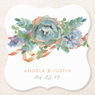 Watercolor Succulent Cluster Wedding Paper Coaster