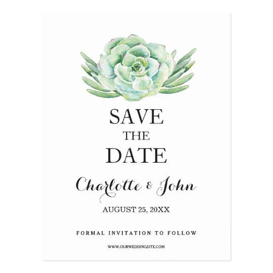 watercolor succulent floral save the dates postcard
