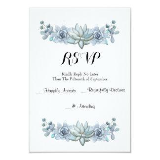 Watercolor Succulent & Flower Wedding RSVP Card