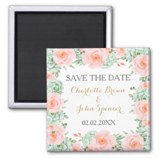 watercolor succulent peach roses save the Date Square Magnet