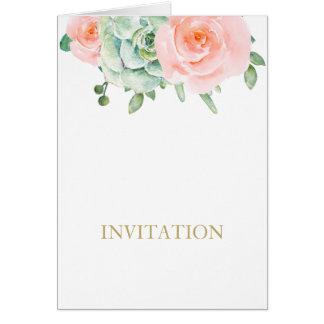 watercolor succulent peach roses wedding invites greeting card