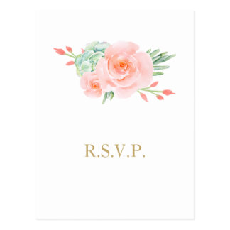 watercolor succulent peach roses wedding rsvp postcard