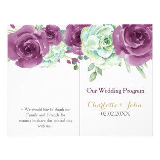 watercolor succulent plum roses wedding program 21.5 cm x 28 cm flyer