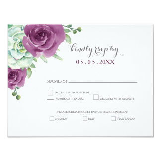 watercolor succulent plum roses wedding rsvp 11 cm x 14 cm invitation card