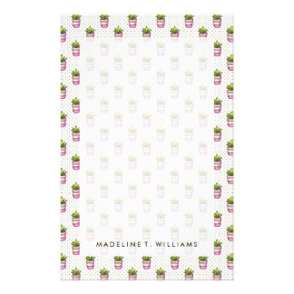 Watercolor Succulent Polka Dot Pattern Stationery