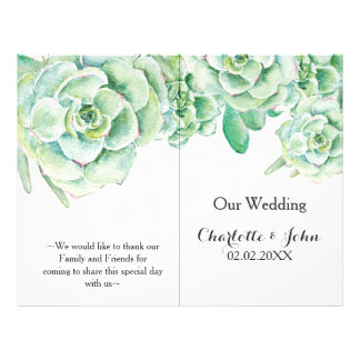 watercolor succulent wedding program flyer