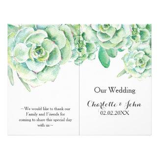 watercolor succulent wedding program flyer