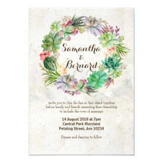 Watercolor Succulent Wreath Wedding Invitation