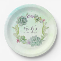 Watercolor Succulents Baby Shower Paper Plate