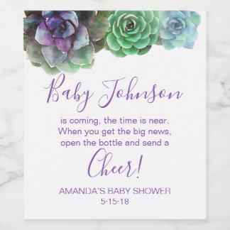 Watercolor Succulents baby shower wine label