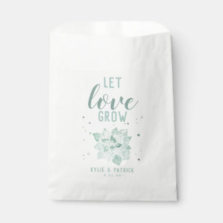 Watercolor Succulents Let Love Grow Favor Bags
