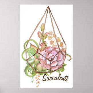 Watercolor Succulents Terrarium Poster