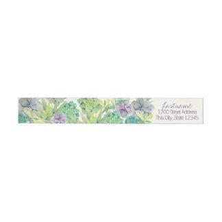 Watercolor Succulents Wedding Address Wrap Around Label