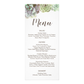 Watercolor Succulents | Wedding Menu and Thank You