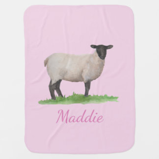 Watercolor Suffolk Sheep Ewe on Pink Baby Blanket