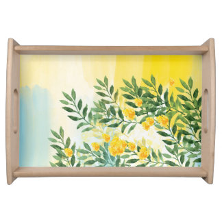 Watercolor Summer Florals Serving Tray, Natural Serving Tray