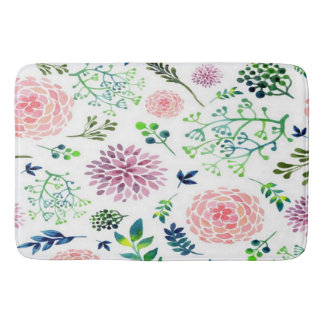 Watercolor Summer Garden Nursery Rug Bath Mats
