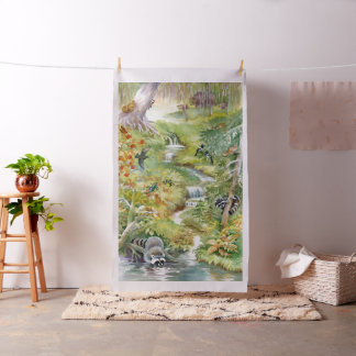 Watercolor Summer Scene Tapestry Fabric