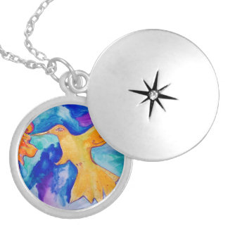 Watercolor Sun Bird Modern Fine Art Painting Locket Necklace