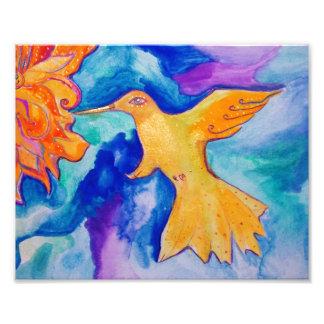 Watercolor Sun Bird Modern Fine Art Painting Photographic Print