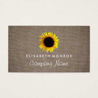Watercolor Sunflower and Burlap Business Card