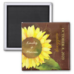 Watercolor Sunflower Autumn Wedding Save the Date Square Magnet