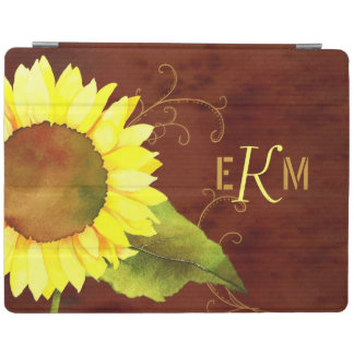 Watercolor Sunflower Monogram Magnetic iPad 2/3/4 iPad Cover