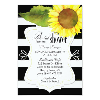 Watercolor Sunflower n Stripes Bridal Shower Card