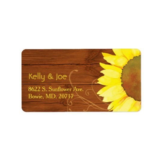 Watercolor Sunflower on Wood Wedding Label