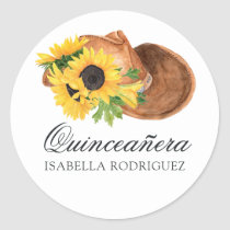 Watercolor Sunflower Rustic Western Quinceañera Classic Round Sticker