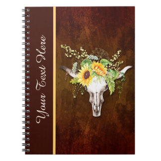 Watercolor Sunflower Skull Distressed Background Spiral Notebook