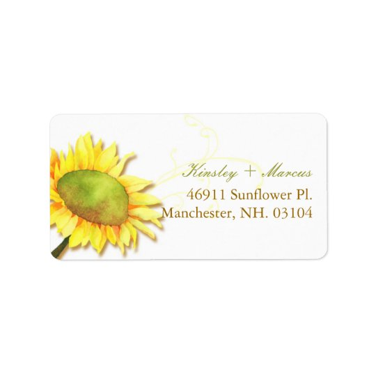 Watercolor Sunflower Wedding Couple Address Labels