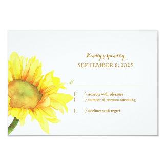 Watercolor Sunflower Wedding RSVP 9 Cm X 13 Cm Invitation Card