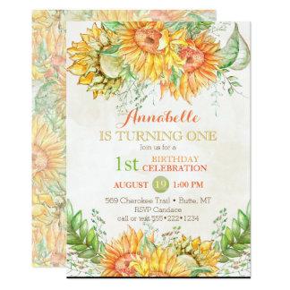 Watercolor Sunflowers Bright Orange Yellow Green 13 Cm X 18 Cm Invitation Card