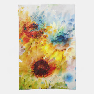 Watercolor Sunflowers Kitchen Towel