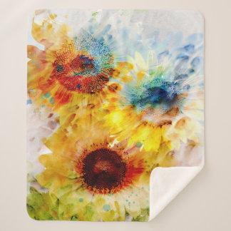 Watercolor Sunflowers Medium Sherpa Fleece Blanket