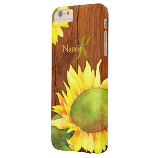 Watercolor Sunflowers on Wood Barely There iPhone 6 Plus Case