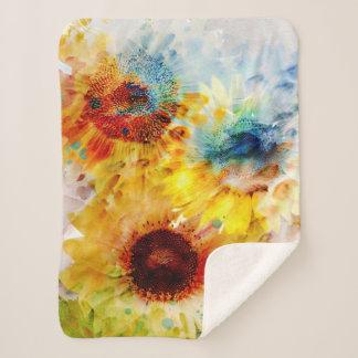 Watercolor Sunflowers Small Sherpa Fleece Blanket
