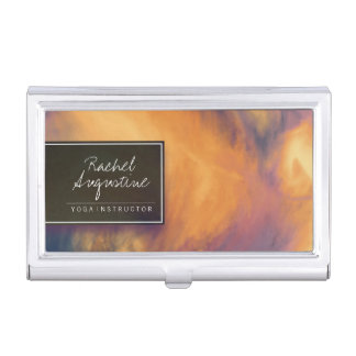 Watercolor Sunset Sky Yoga Meditation Instructor Business Card Holder