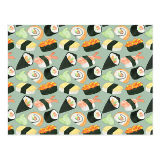 Watercolor Sushi Pattern Postcard