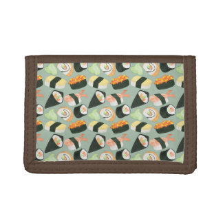 Watercolor Sushi Pattern Trifold Wallets
