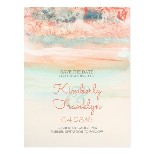 Watercolor Swash Beach Wedding Save the Date Postcard