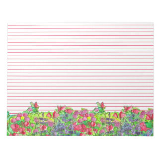 Watercolor Sweet Pea Flowers Red Lined Notepad