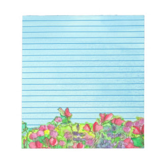 Watercolor Sweet Peas Blue Lined Notepad