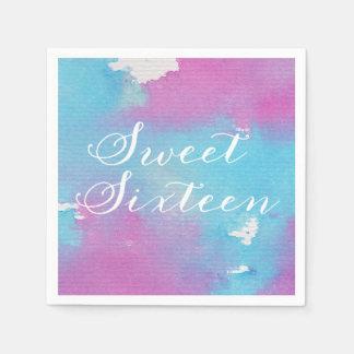 Watercolor Sweet Sixteen Paper Napkins