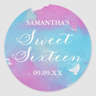 Watercolor Sweet Sixteen Personalized Stickers Stickers