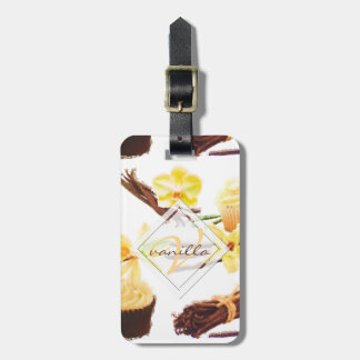 Watercolor Sweet Vanilla Orchid Monogram Luggage Tag