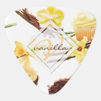 Watercolor Sweet Vanilla Orchid Monogram Plectrum